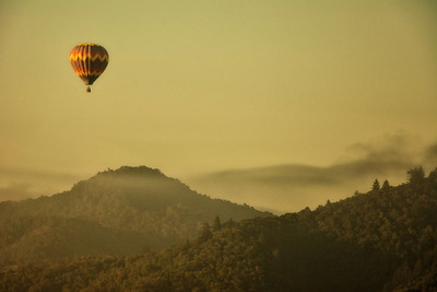 Balloon over hill - Napa, California